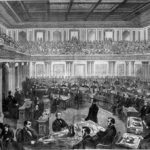 Engraving of Andrew Johnson Impeachment trial